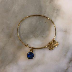 Alex and Ani gold sapphire charm bangle